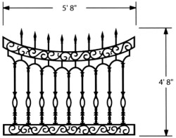 SCROLLED ARCH  MODEL - CAST IRON FENCING